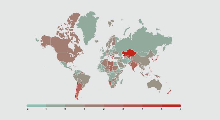 Grafik 1: aus der Studie | Prozentualer Verlust an Wirtschaftskraft pro Kopf bis 2100, falls das Paris-Abkommen eingehalten wird. Dies entspricht dem IPCC-Szenario RCP 2.6