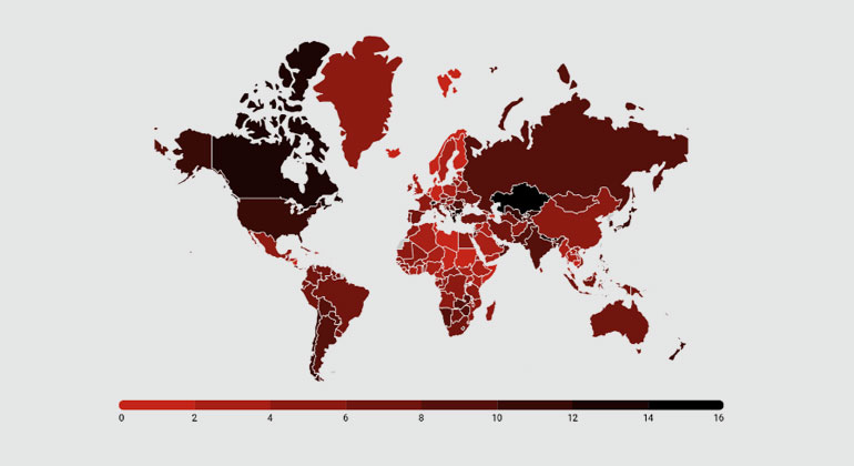 Grafik 2: aus der Studie | Prozentualer Verlust an Wirtschaftskraft pro Kopf bis 2100, falls der Ausstoß von Treibhausgasen weiter steigt. Dies entspricht dem IPCC-Szenario RCP 8.5