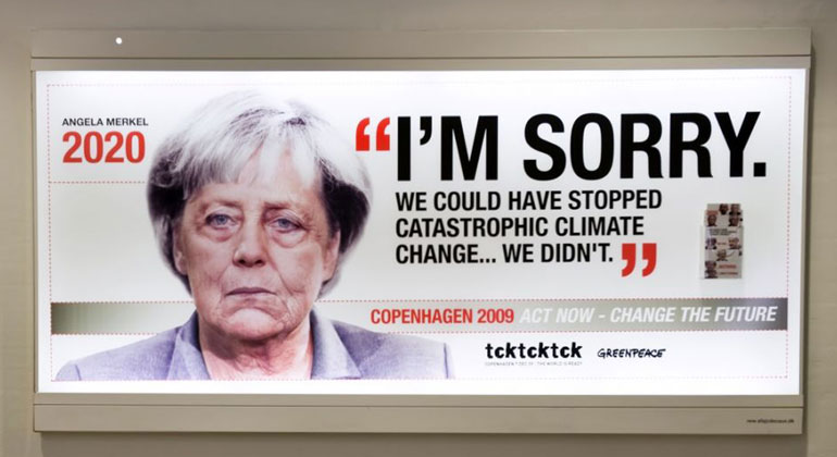 klimareporter.de | TckTckTck | Klimapolitisches Versagen: Was beim Klimagipfel 2009 in Kopenhagen nur eine Plakataktion von Greenpeace und Co war, wird nun offenbar Wirklichkeit.