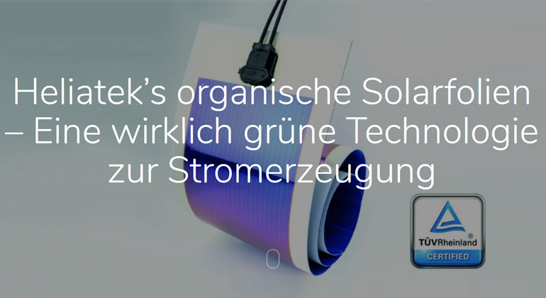 Beste Klimabilanz bei Heliatek's organischen Solarfolien