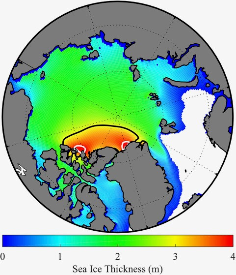 Kent Moore/University of Toronto | Annual mean sea ice thickness (m) over the Arctic Ocean from 1979 – 2018. The black line surrounds the area where the ice thickness exceeds 3 m and can be considered as the region known as the Last Ice Area. The white lines surround the two areas where the ice thickness exceeds 4m.