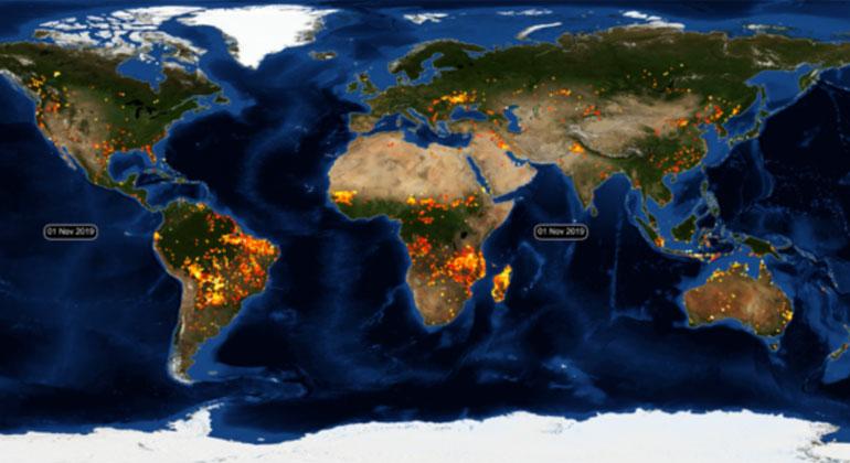Copernicus: Wie 2019 die Welt in Flammen stand