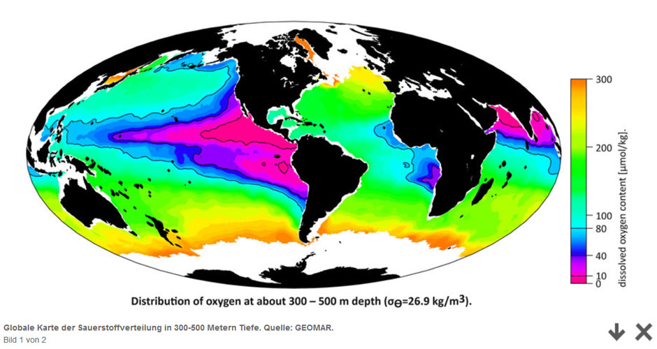 GEOMAR | Global map of oxygen distribution at 300-500m water depth in the world ocean.
