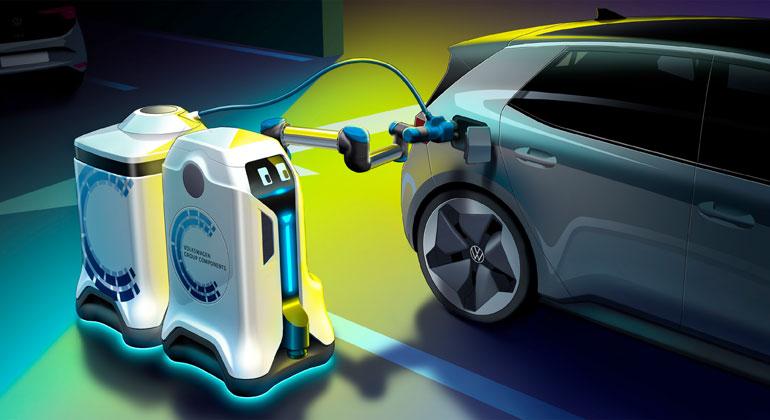 Volkswagen Konzern Komponente   Der mobile Laderoboter der Volkswagen Group Components bringt einen Anhänger als fahrbaren Energiespeicher zum Fahrzeug.