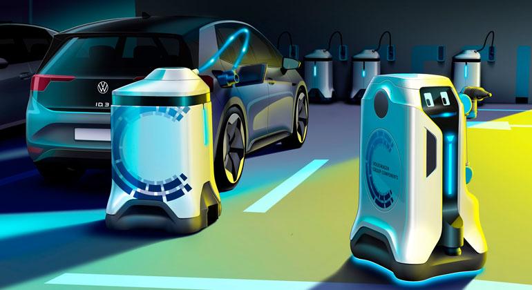 Volkswagen Konzern Komponente   Der bewegliche Energiespeicher bleibt während des Ladevorgangs beim Auto*. Die Zeit nutzt der Roboter für andere E-Fahrzeuge.