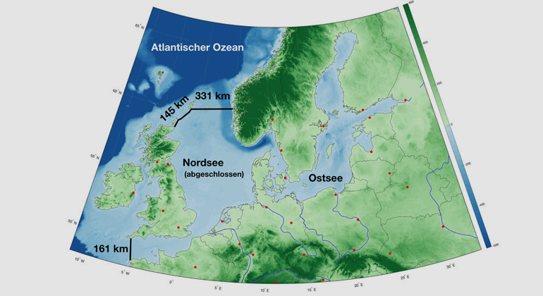 From Groeskamp / Kjellsson | Map of the North Sea with the two dam projects