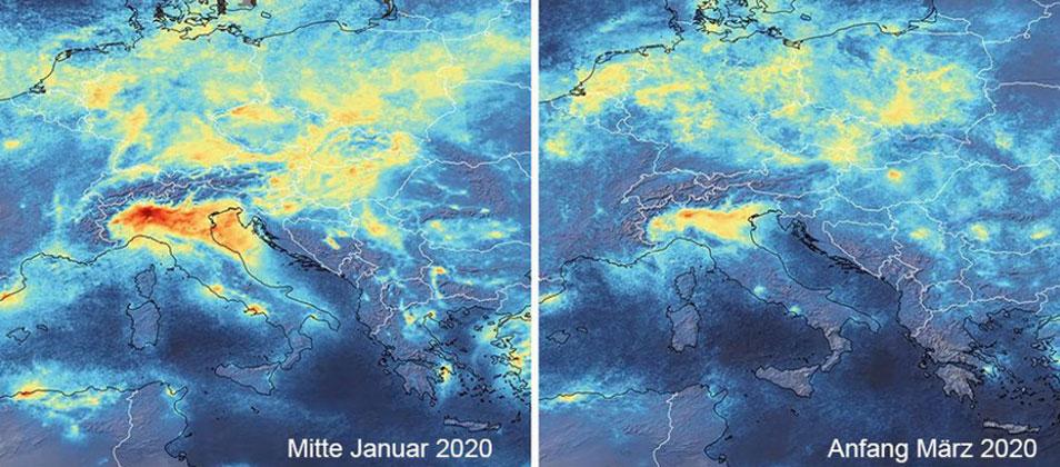 ESA / CC BY-SA 3.0 IGO   Die Stickstoffdioxid-Belastung in der Po-Ebene ist europaweit am stärksten.