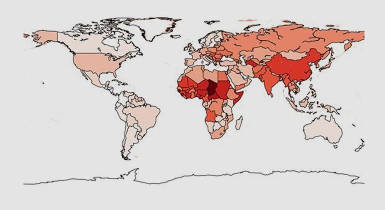 Lelieveld et al | Luftverschmutzung beeinträchtigt die Lebenserwartung weltweit. Je dunkler ein Land eingefärbt ist, desto stärker sinkt die Lebenserwartung. Der weltweite Durchschnitt lag im Jahr 2015 bei 2,9 Jahren