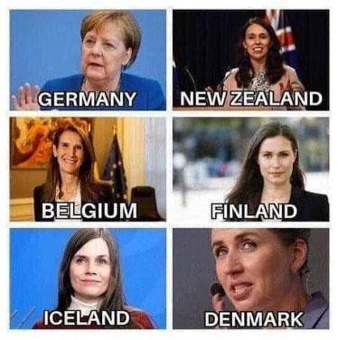 jerrysaltz | Instagramm | Angela Merkel in Deutschland, Jacinda Ardern in Neuseeland, Sophie Wilmes in Belgien, Sanna Marin in Finnland, Katrin Jakobsdottir in Island und Mette Frederiksen in Dänemark | Was haben diese Frauen gemeinsam?