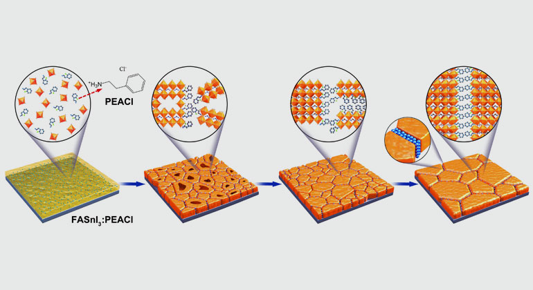 Meng Li/HZB | Die Abbildung zeigt die Veränderungen in der Struktur von FASnI3:PEACl-Filmen während der Behandlung bei verschiedenen Temperaturen.