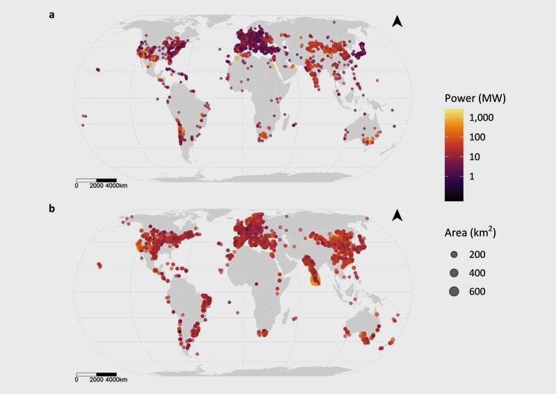 University of Southampton | Globale Verteilung von Solar- (a) und Windparks (b).