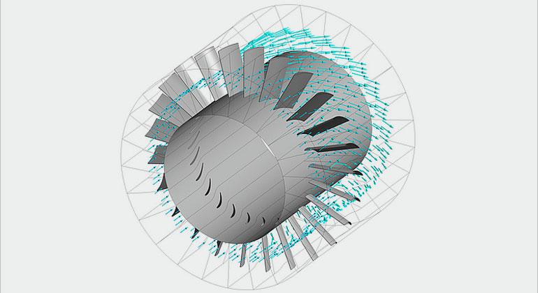 uni-hannover.de | Das Team der LUH kümmert sich im Rahmen des Projektes um die numerische Strömungssimulation. Dieses Simulationsbild zeigt die Strömung durch ein axiales Schaufelgitter: Eine Mischung aus Wasserstoff, Stickstoff und Wasserdampf strömt durch ein Bauteil des Rezirkulationsgebläses, das vor dem Verdichter sitzt und dazu dient, den Anströmwinkel für das Laufrad anzupassen.