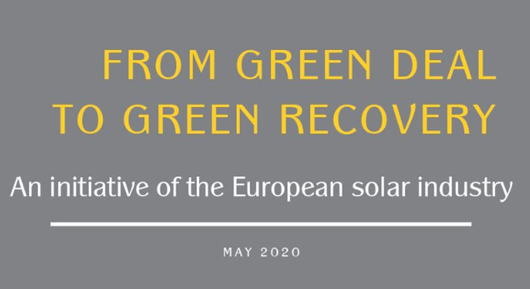 FROM GREEN DEAL TO GREEN RECOVERY: A joint initiative of the EU solar industry