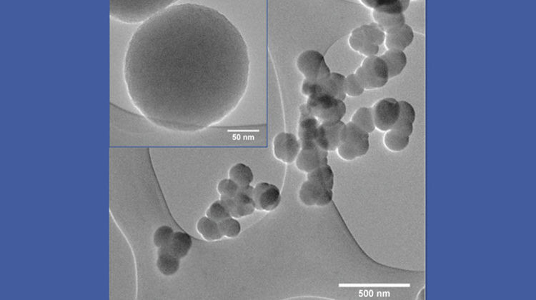 UDE/Orthner | Amorphous silicon/carbon particles (image taken by transmission electron microscope).