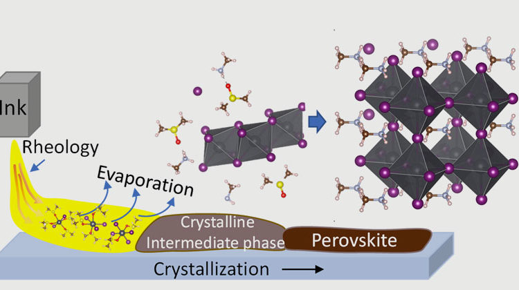 HZB | Schematic illustration: the solvants (ink) are used to produce a thin film of polycrystalline perovskite.