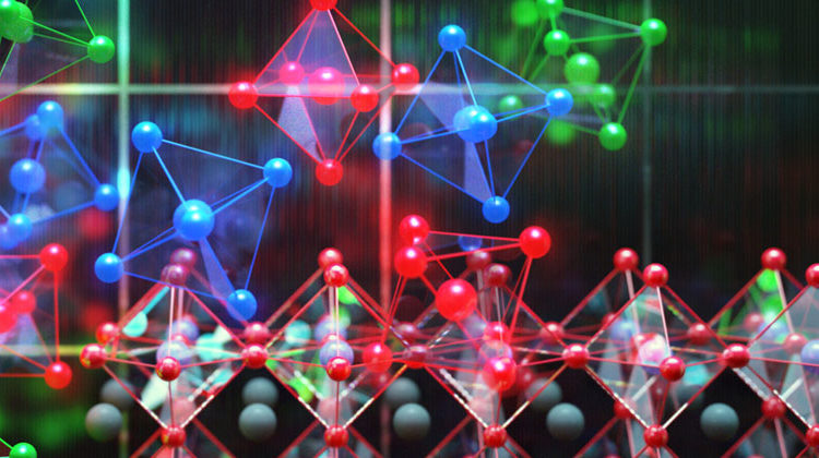 MIT | CUBE3D Graphic | This image shows perovskite photovoltaics in the background with individual perovskite crystals shown as the colorful units.