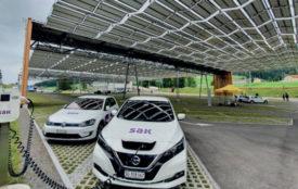 © SAK | Solarfaltdach über dem Parkplatz der Luftseilbahn zum Kronberg(Gonten, AI). Installierte Leistung: 429 kW.