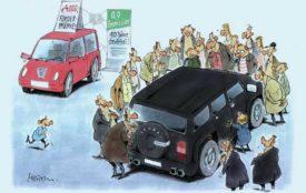 Karikatur: Gerhard Mester; Copyright: SFV/Mester | Nichts Neues im Autoland?