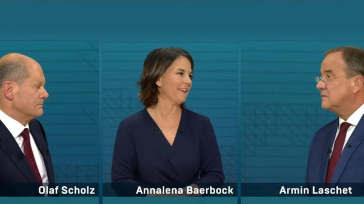 Olaf Scholz | Annalena Baerbock | Armin Laschet | ARD-Screenshot